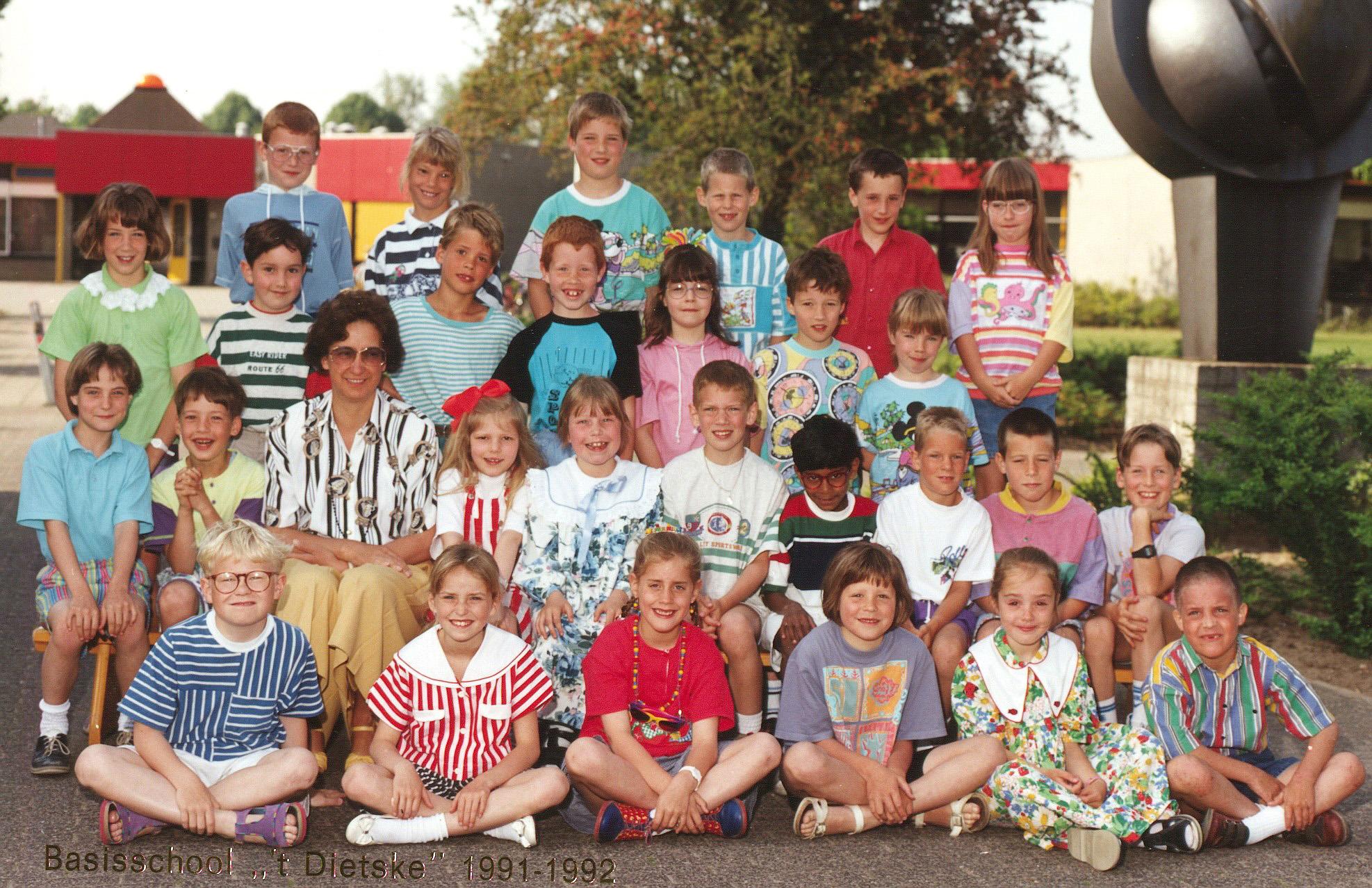 De klas van juf Tonnie Burgers 1991-1992