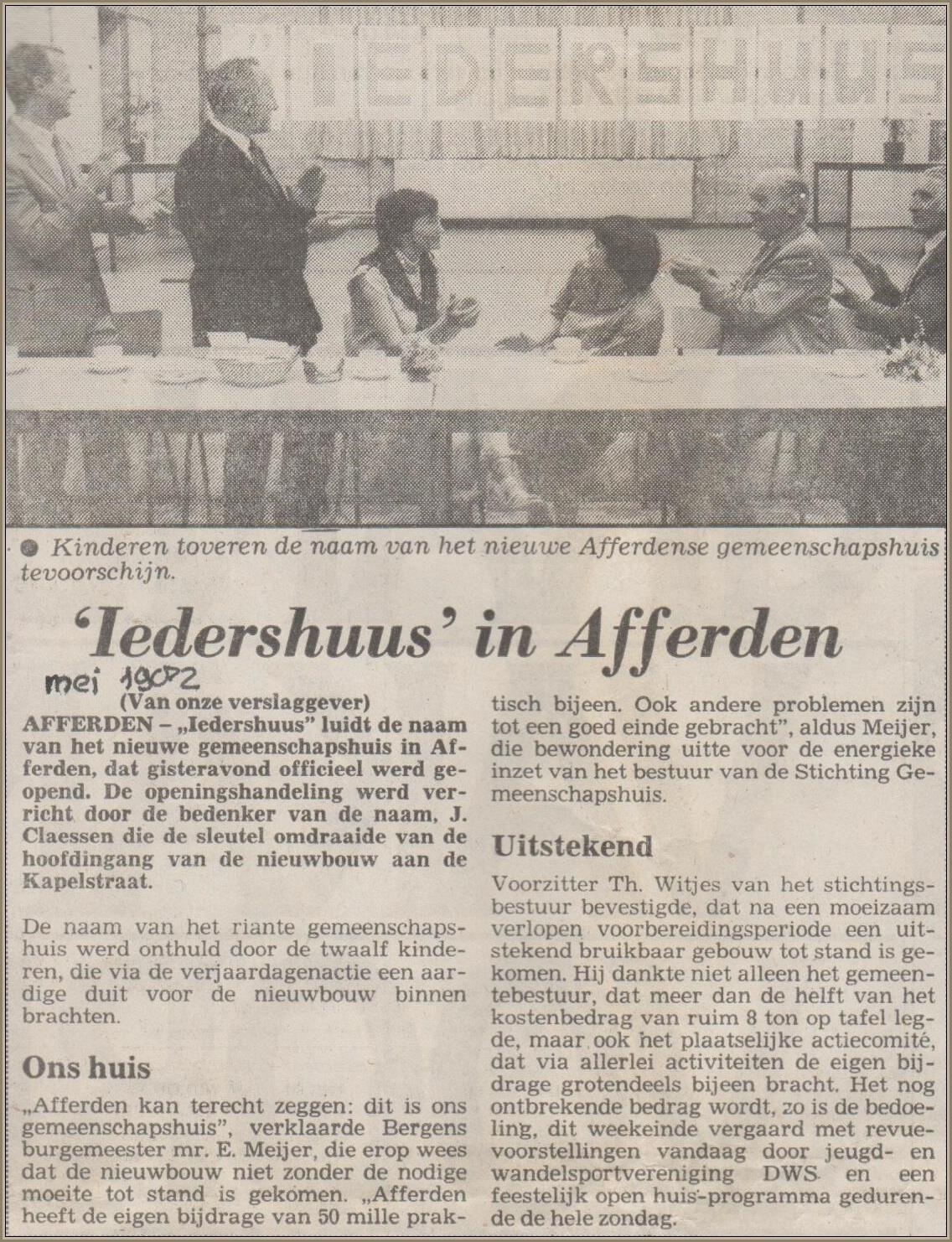 Opening Iedershuus 1982