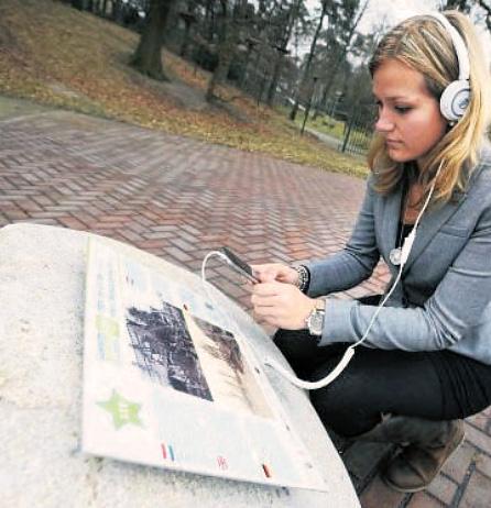 Luistersteen bij ruïne Bleijenbeek