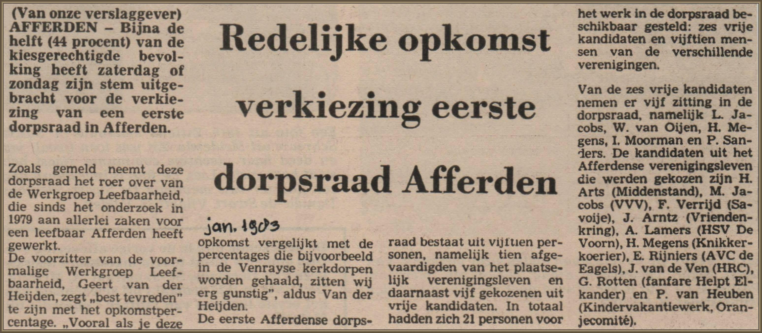 Verkiezing 1e dorpsraad 1983