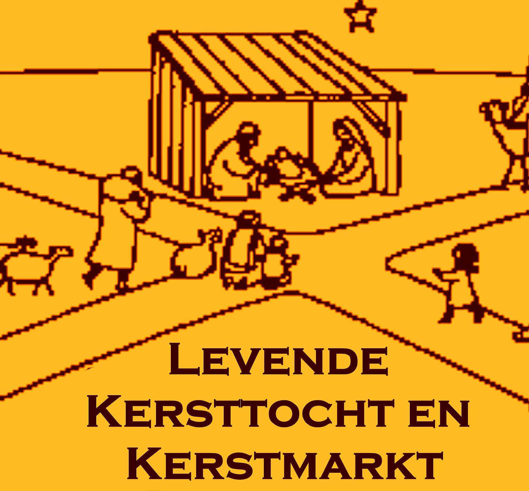 Levende kersttocht en kerstmarkt