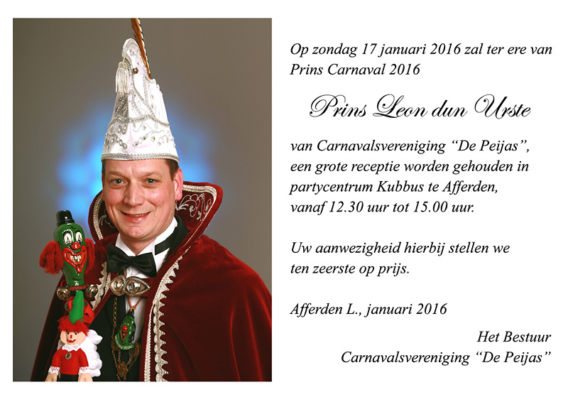 Uitnodiging receptie prins Leon I
