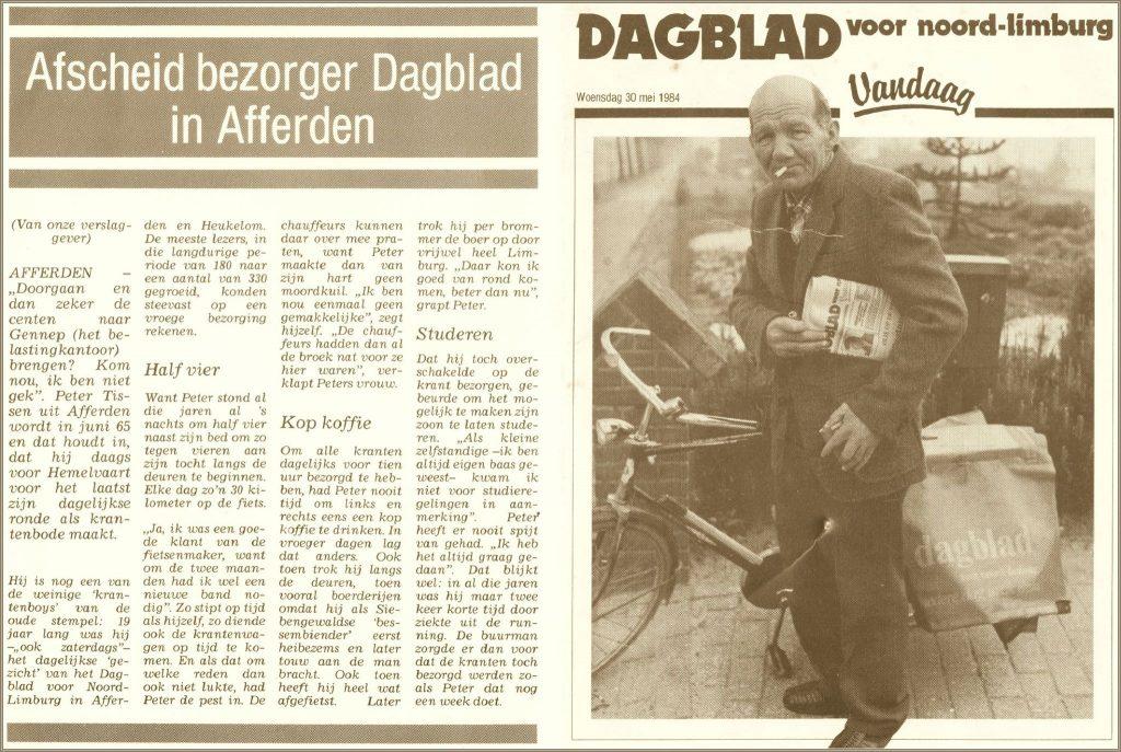 Dorpsarchief Krantenbezorger Peter Tissen 1984