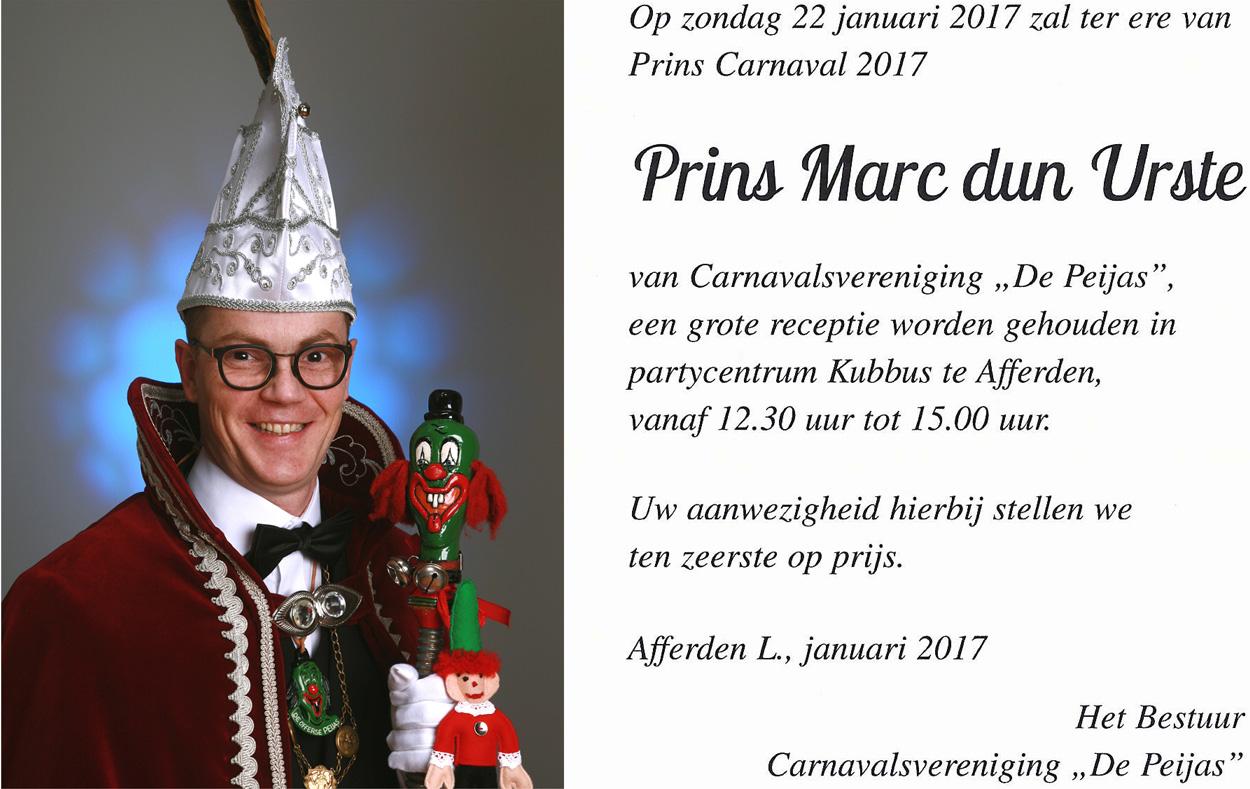 Uitnodiging receptie Prins Marc dun Urste