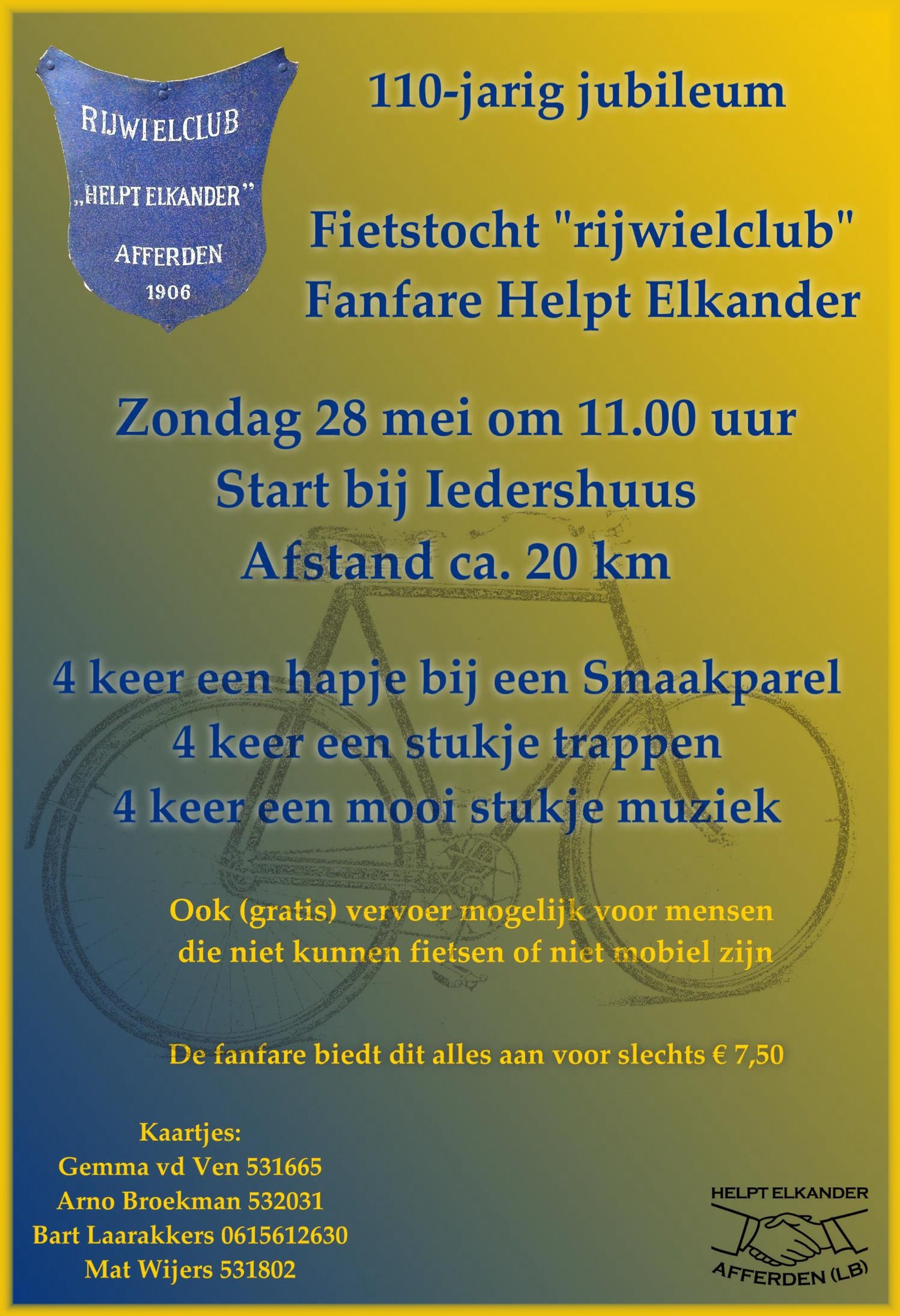 Fietstoertocht 'rijwielclub' Fanfare Helpt Elkander op zondag 28 mei 2017