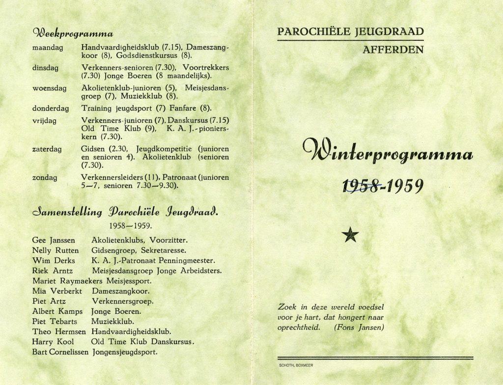 Dorpsarchief Parochiele Jeugdraad 1958