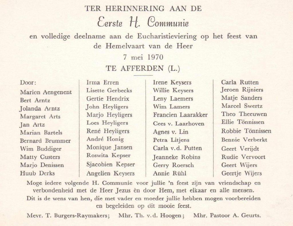 dorpsarchief 1e communie 1970-02