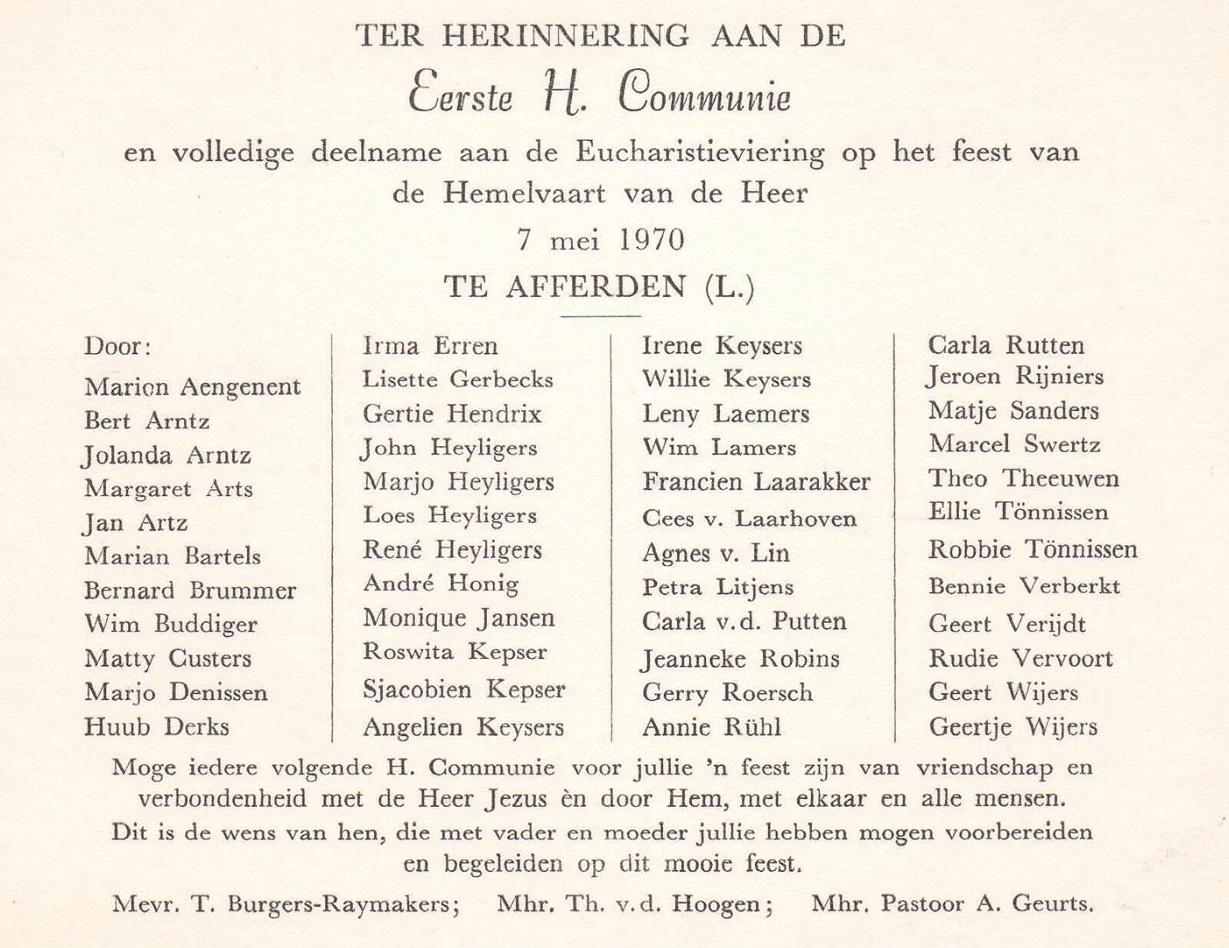 1e Heilige Communie 1970