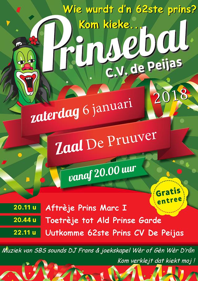 Prinsebal (poster) op zaterdag 6 januari 2018